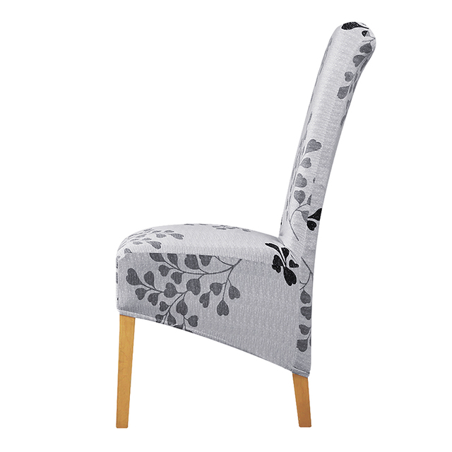 Chair Covers Long Back Folding Quad With Canopy Xl Size Grey Flower High Cover Europe Style King Seat For