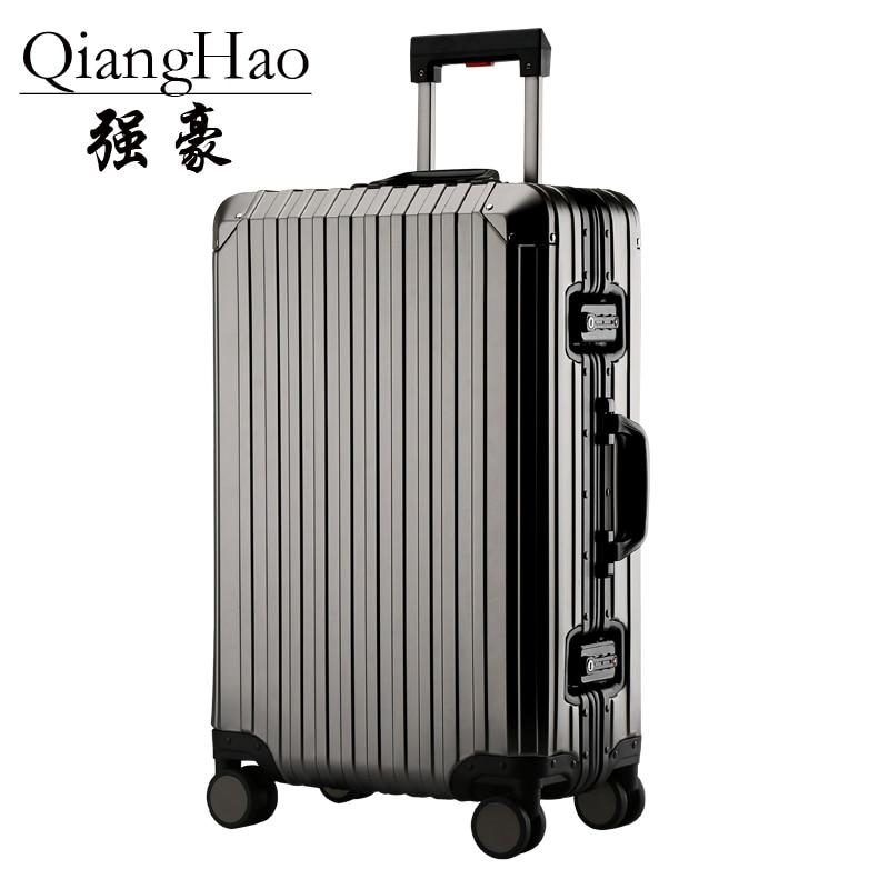 QiangHao  Aluminum Luggage Suitcase 20 25 29 Carry On Luggage Hardside Rolling Luggage Travel Trolley Luggage Suitcase