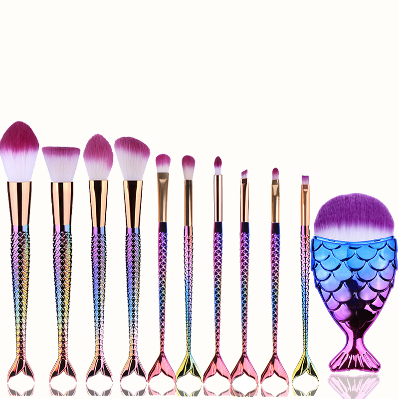 BBL 11pcs Mermaid Makeup Brushes Set Fishtail Shape Foundation Powder Eyeshadow Brush Unicorn Cosmetics Brush Pincel Maquiagem pro 15pcs tz makeup brushes set powder foundation blush eyeshadow eyebrow face brush pincel maquiagem cosmetics kits with bag