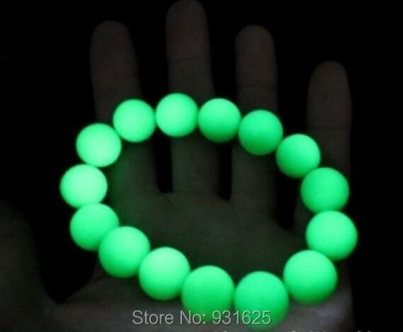Natural 14mm Beads fluorite luminous gem stone Beads Link Elastic bracelet Glow in Dark luminous stones Bracelets Fine Jewelry