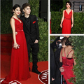vestido de festa Elegant 2016 Red Long Spaghetti Straps Deep V Neck Chiffon Evening Prom Dresses Celebrity Selena Gomez Gowns