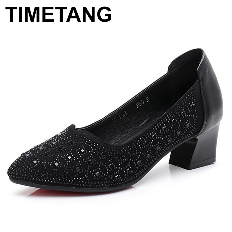 TIMETANG   Fashion Genuine Leather Shoes Woman Pointed Toe Women Pumps Shallow Slip-on Square Heel Zapatos Mujer Shoes Med Heels