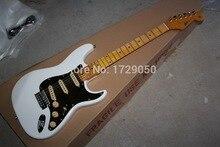 Freies verschiffen qualitäts-echt fotos Fabrik neueste Neue Benutzerdefinierte Str F ST atocaster schwarzes Schlagbrett weiße E-gitarre 1111