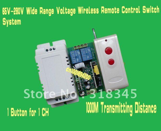 85V-280V 110V/120V/230V/240V etc wide range voltage  RF wireless remote control switch system 1Receiver &1Transmitter 1000M 315 glukhar v
