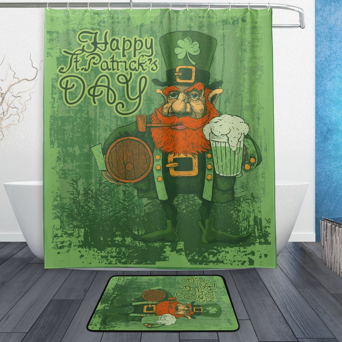 Retro Happy Saint Patricks Day Shower Curtain and Mat Set, Vintage Style Lucky Clover Waterproof Fabric Bathroom Curtain