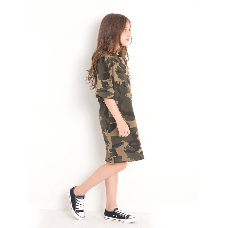 Girls Camouflage A line Dress Large Size Children 39 s Clothing Half Sleeved Summer Kids Dresses Loose Camo Vestidos for Teens in Dresses from Mother amp Kids