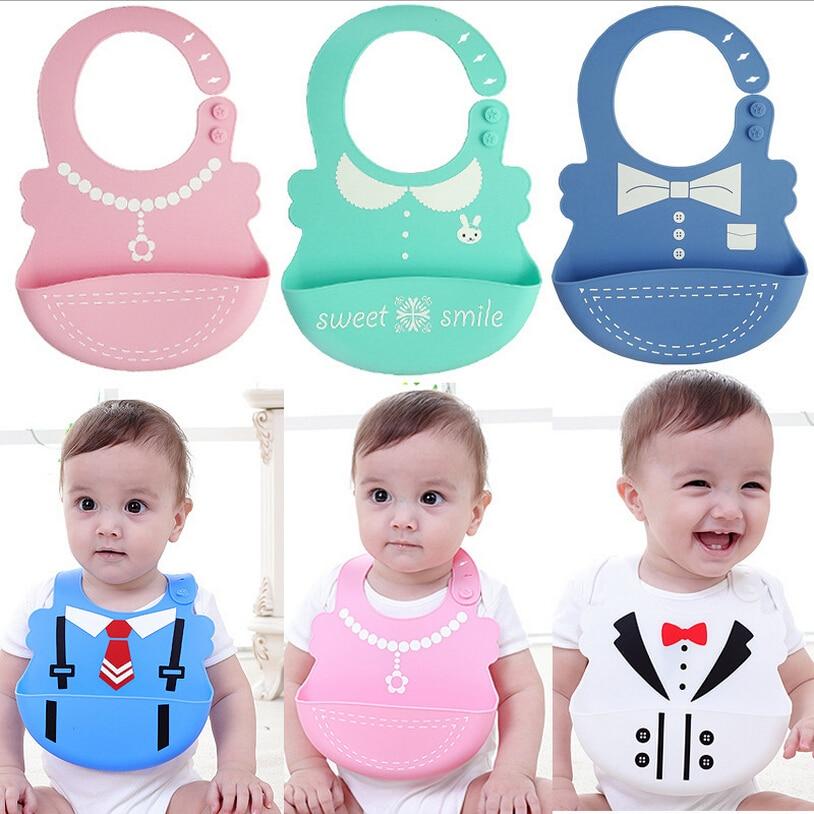 New Arrive Baby bibs Waterproof silicone feeding Infant saliva towel newborn cartoon aprons Baby Food grade