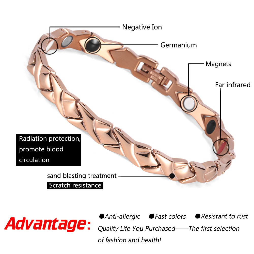 Rainso stainless steel Letter shape power energy health bracelet 4 in 1 magnetic germanium healthy bracelet for women 6