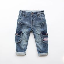 SHUZHI Fashion Baby Boys Girls jeans Good Qualtiy Kids Denim Full Pants for boy Child Cowboy Jeans Pants Cool Design 2-6 years
