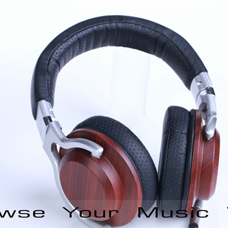 ФОТО HiFi Wooden Metal Headband Headphone Headset Earphone With Beryllium Alloy Driver Leather Cushion Heavy Bass wood soundtrack