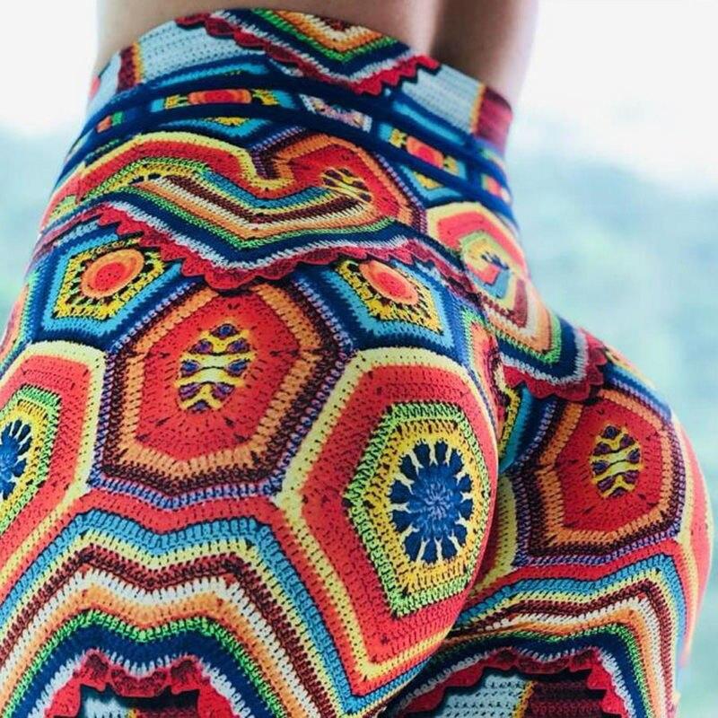 2019 Colorful Printing push up leggins high waist leggings Put Hip Elastic High Waist Legging Breathable Merry Flower Pants