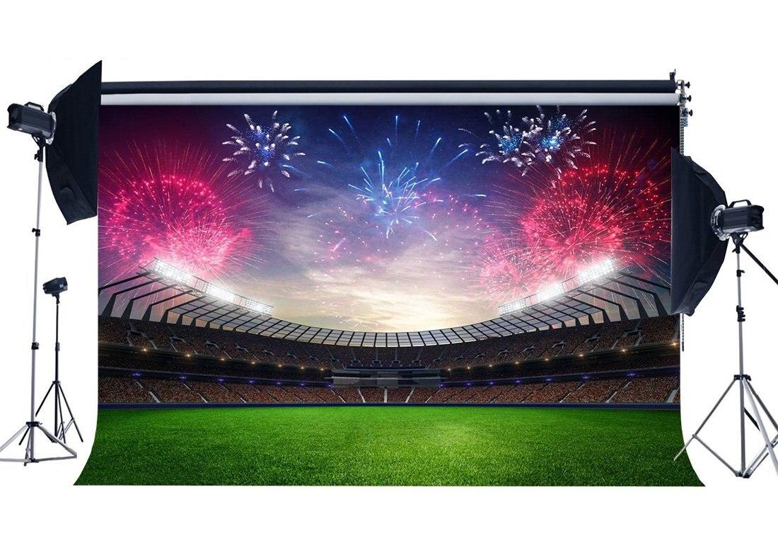 Football Field Backdrop Stadium Luxurious Fireworks Crowd Green Grass Meadow Sports Match Background
