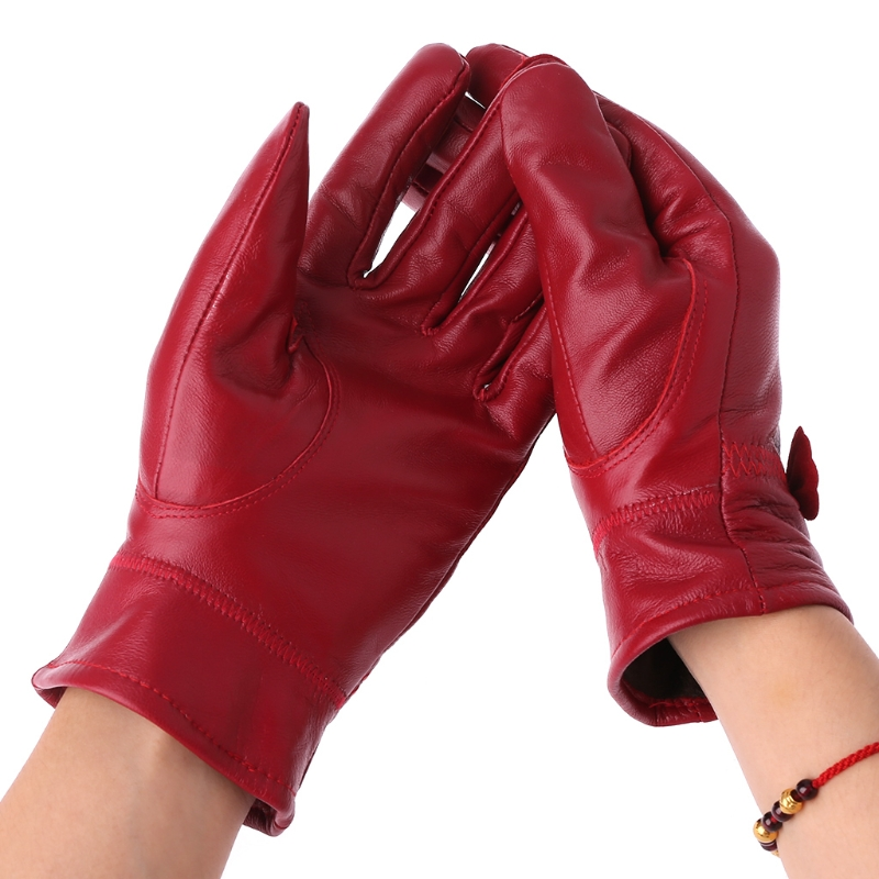 Women Genuine Leather Gloves Fashion Female Autumn Winter Windproof Gloves Driving Mittens