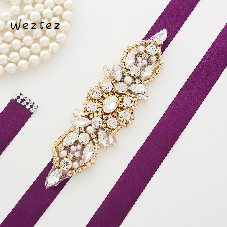 Gold Crystal Bridal Belt Pearl Rhinestone Wedding Belt For Bridal Wedding Accessories Dress SD172G