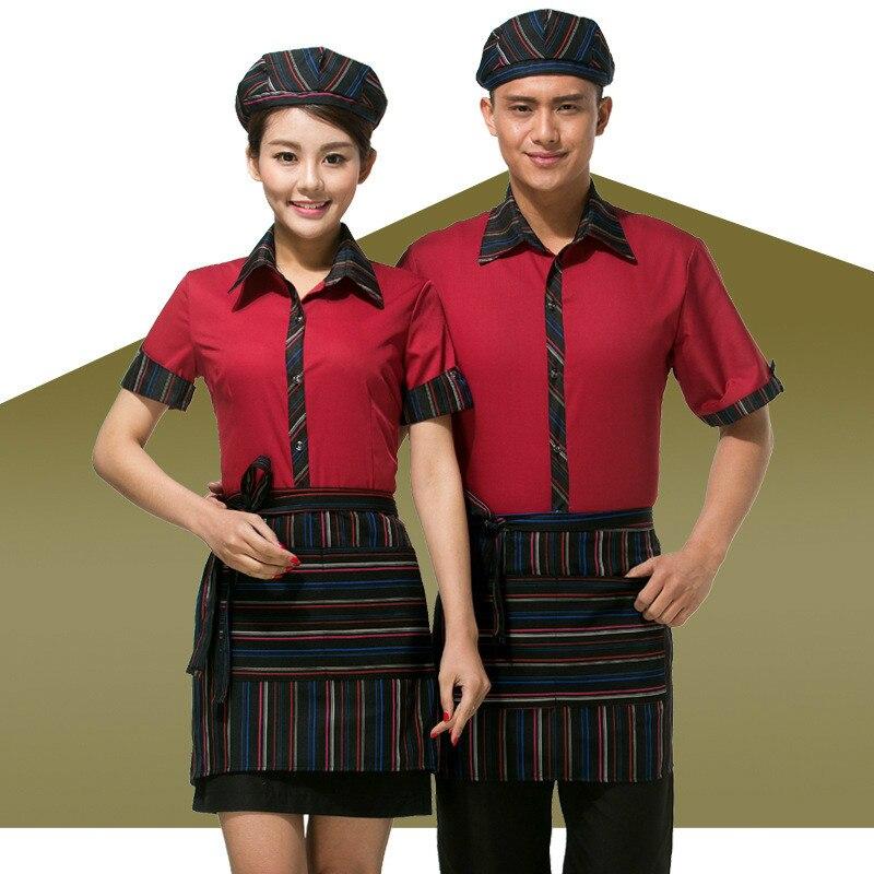 Women Waitress Uniform Shirt Hotel Work Clothes Restaurant Hot Pot Shop Catering Coffee Shops Waiter Short Sleeve Overalls H2265