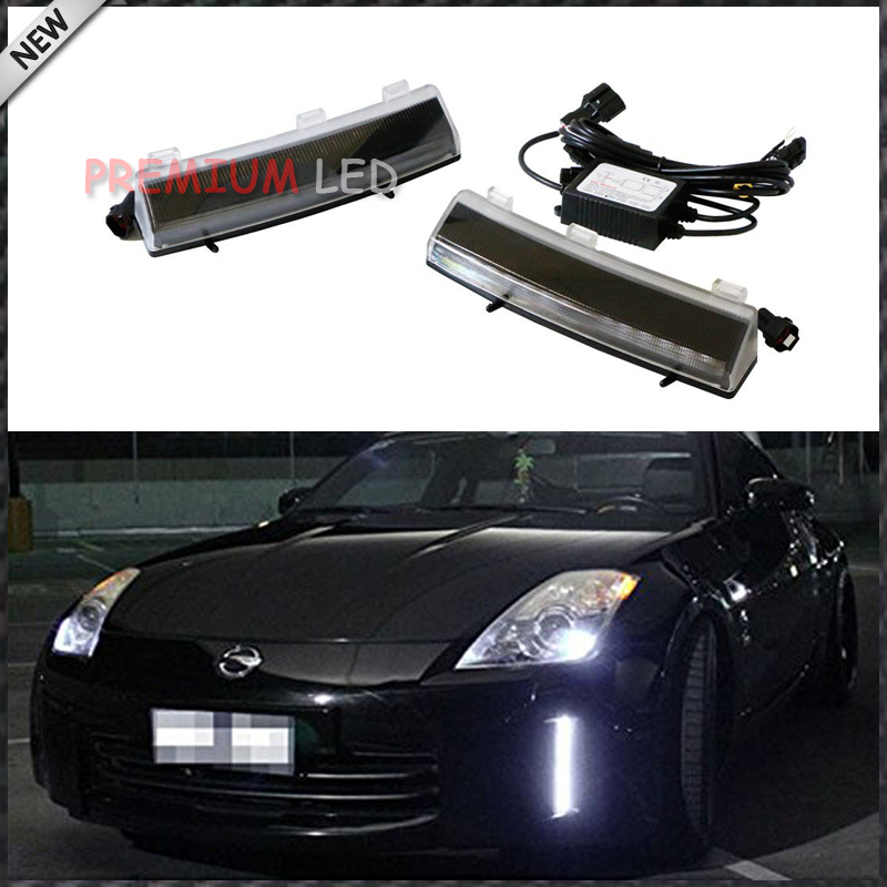 ФОТО OEM Exact Fit CREE High Power LED Front Bumper Reflector Replacement LED Daytime Running Lights For 2006-2009 Nissan 350Z LCI
