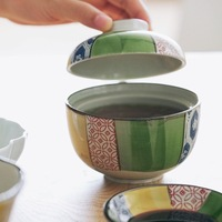 Japanese traditional classical pattern soup ceramic bowl underglaze color heavy household rice noddle bowl with cover