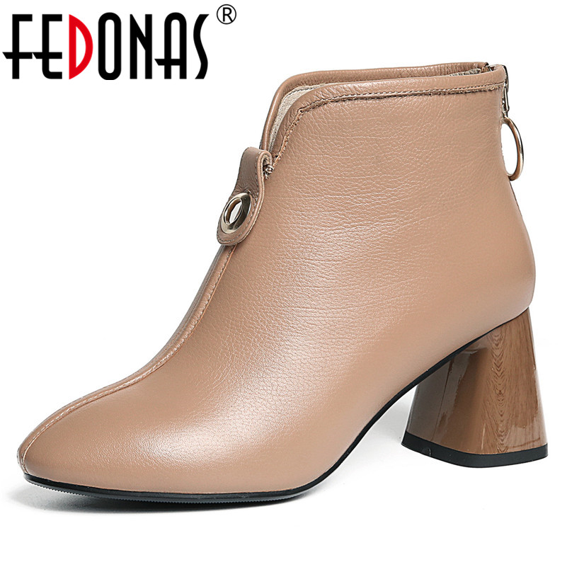 FEDONAS Women Thick High Heeled Ankle Boots Warm Autumn Winter Ladies Shoes Woman Top Quality Basic Office Pumps Short BootsFEDONAS Women Thick High Heeled Ankle Boots Warm Autumn Winter Ladies Shoes Woman Top Quality Basic Office Pumps Short Boots