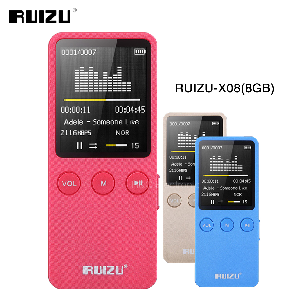 Original RUIZU X08 8GB MP3 Music Video Player Support 64GB TF Card With High Sound Quality Voice Recorder With Built-in Speaker