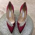 Zapatos de Mujer de Color Caramelo zapatos de Tacón Alto de Lujo Mujeres de la Marca de Satén Zapatos de Boda Rhinestone zapatos de Tacón Alto Bombas de Punta estrecha Zapatos de Mujer