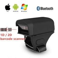 Mini Draadloze Bluetooth 2D Qr 1D Laser Barcode Vinger Scanner Ring Shape Pocket Bar Code Reader Voor Android Ios Windows