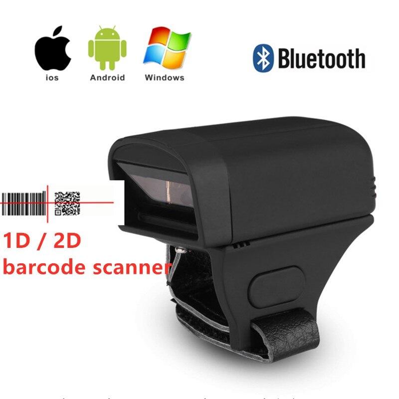 Mini bezprzewodowa Bluetooth 2D QR 1D CCD kodów kreskowych laserowy skaner palca pierścień kształt kieszeni czytnik kodów kreskowych dla androida IOS windows