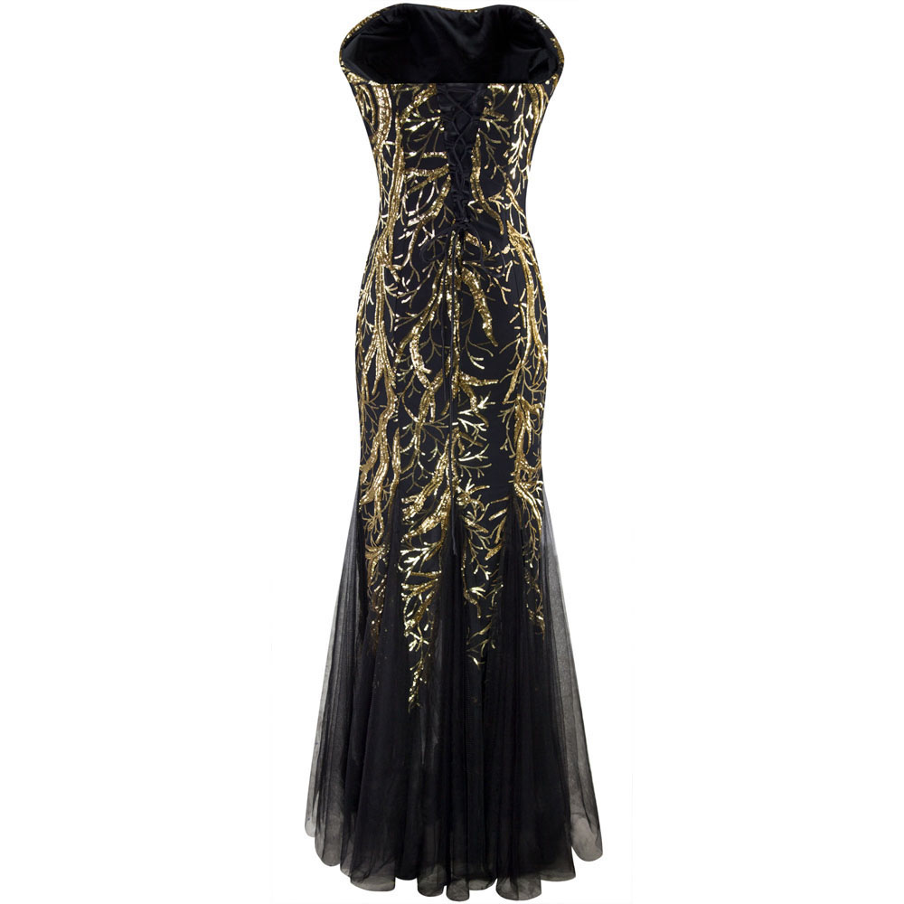 Angel-fashions Strapless Golden Branch Sequined  Mermaid Full Length Evening Dress 101