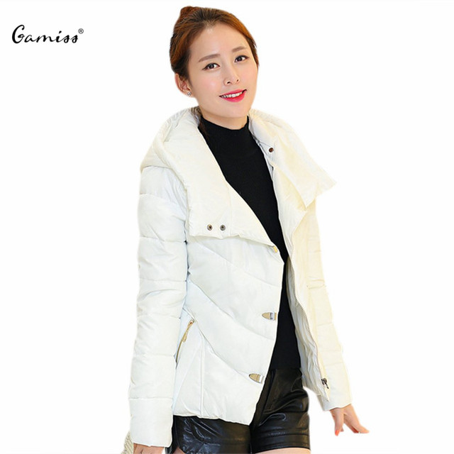 Fashion Detachable Fur Collar Long Sleeves Lightweight Short Parkas Pure Color Hooded Down Jacket Cotton-Padded Coat for Women