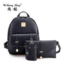 Shangming Мода 2017 г. 3 компл. Композитный сумка маленькая женщин элегантный дизайн рюкзаки женские черные PU женщин рюкзак + сумка + кошелек