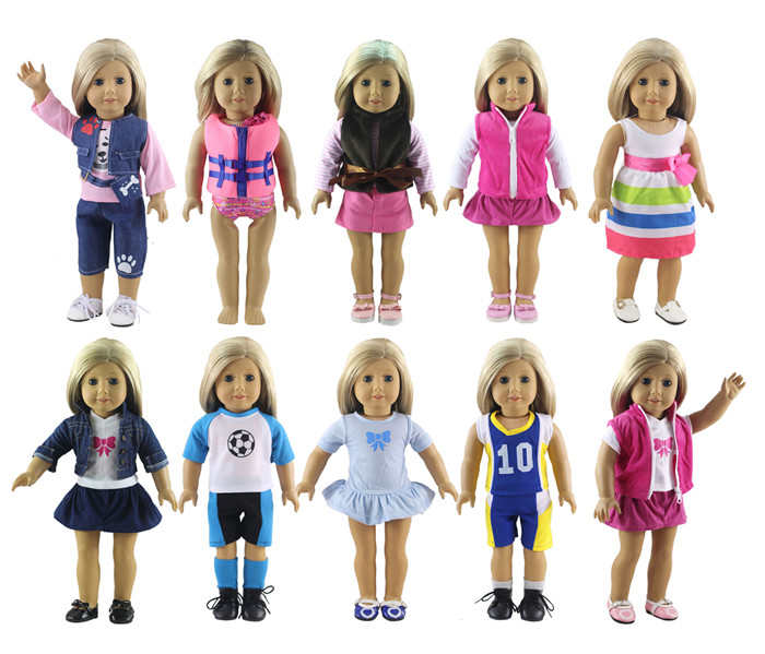 Fashion Difference Style 10 Set Doll Clothes for 18 Inch American Girl Handsome Casual Wear american girl doll clothes for 18 inch dolls beautiful toy dresses outfit set fashion dolls clothes doll accessories