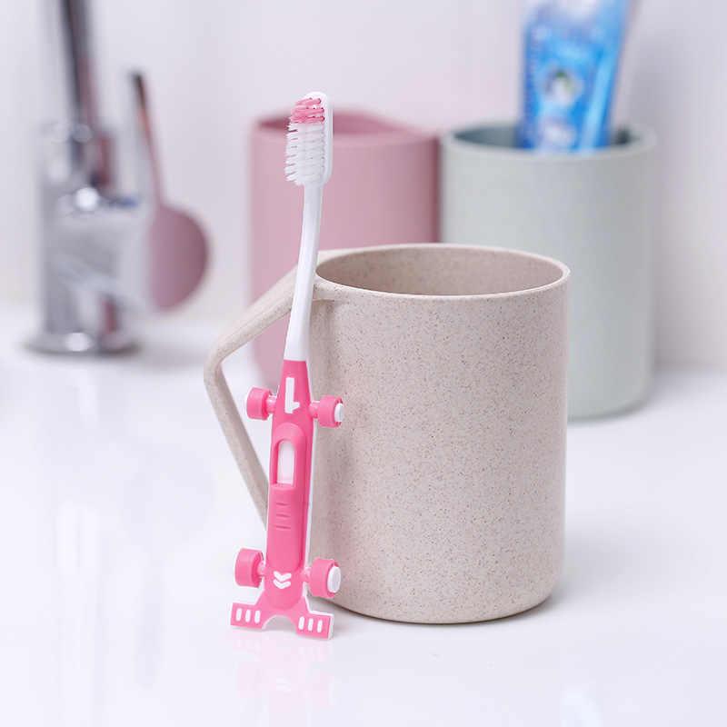 2 uds. De cepillos de dientes de protección para la dentición de los niños y bebés recién nacidos, cepillos dentales de entrenamiento para Skate de dibujos animados