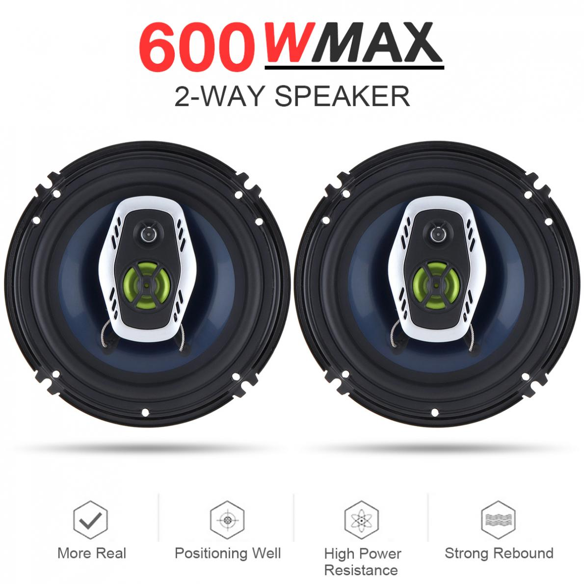 2pcs 6.5 Inch 16cm 600W 2 Way Universal Car Coaxial Hifi Speakers Auto Audio Music Stereo Speaker Non-destructive Installation