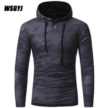 Man'S T-Shirt 2017 New T-Shirts Men'S Long Sleeve Fashion Hooded Sling Camouflage Tight T Shirt Slim Male Tops M-XXXL