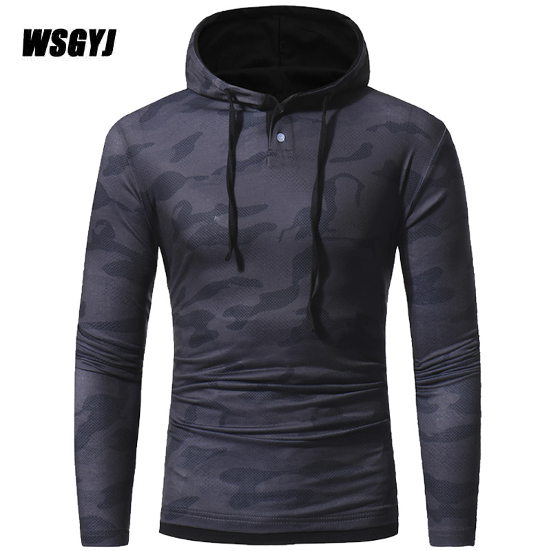 ManS T-Shirt 2017 New T-Shirts MenS Long Sleeve Fashion Hooded Sling Camouflage Tight T Shirt Slim Male Tops M-XXXL
