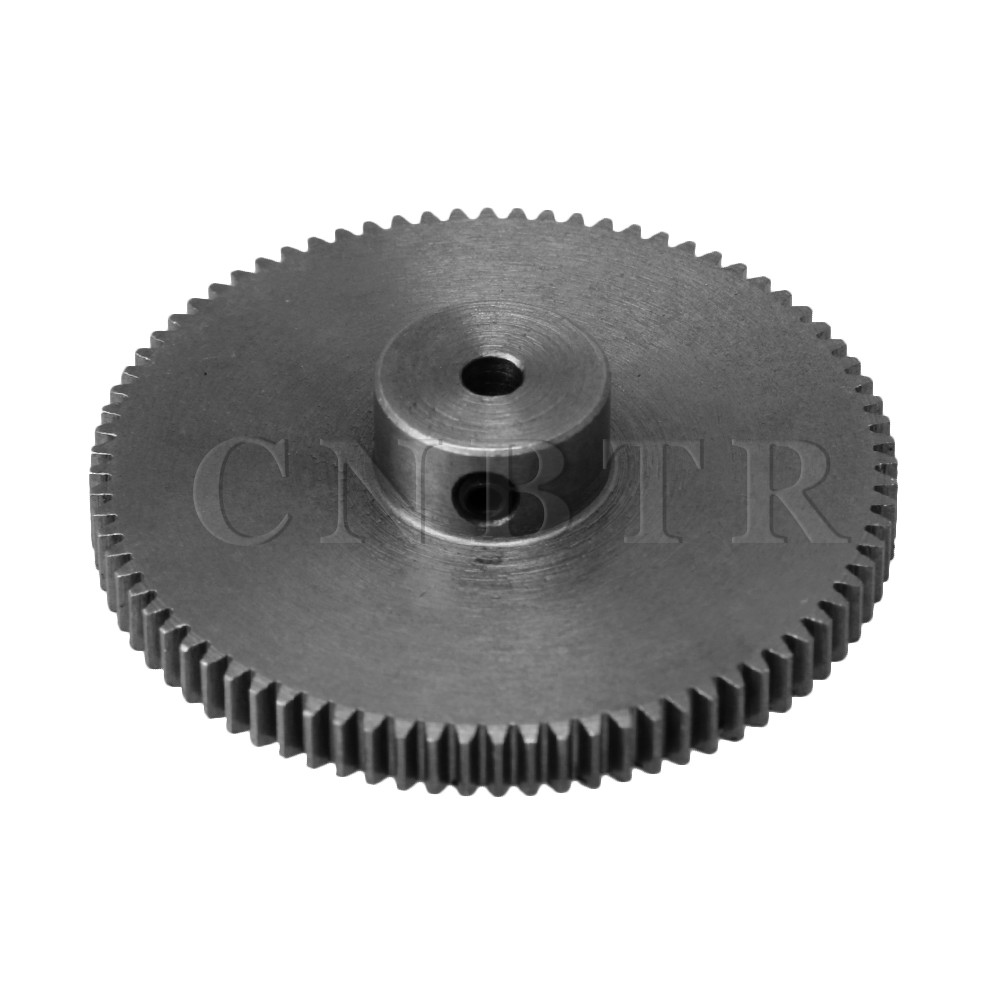 CNBTR 40.8x10x3MM Silver 80 Teeth Motor Metal 45# Steel Gear Wheel 0.5 Modulus Top Screws 3mm Hole Diameter