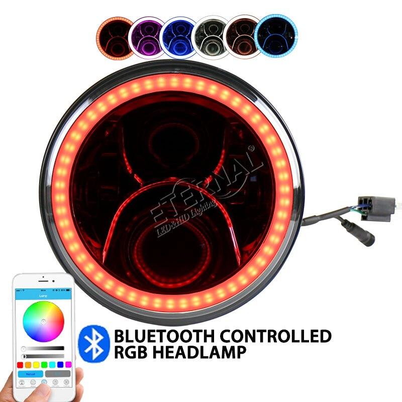 7-дюймовый 50Вт RGB светодиодные фары внедорожные фары цвета дистанционного венчик для Wrangler Рубикон 4x4 грузовик прицеп мотоцикл H4 Н13 Лампа