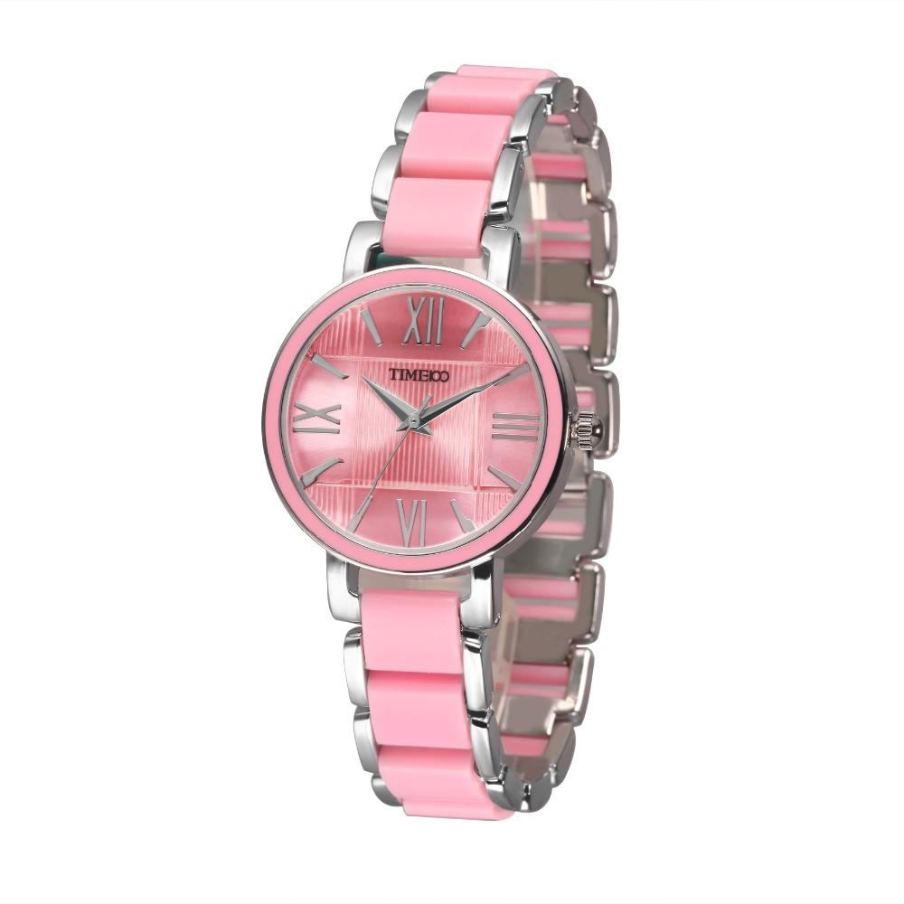 Prix pour 2016 time100 femmes de montres à quartz rose simulé en céramique bracelet montre heures dames occasionnels montre horloge relogios femininos