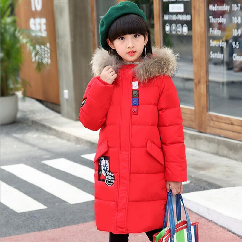Winter 2018 New Children's winter Jackets Down Girl long Coat Big Fur Collar Thicker Warm Down & Parkas Fit 5-13Y 2017 new women parkas female fur collar coat in the long section of large size jacket warm winter coat