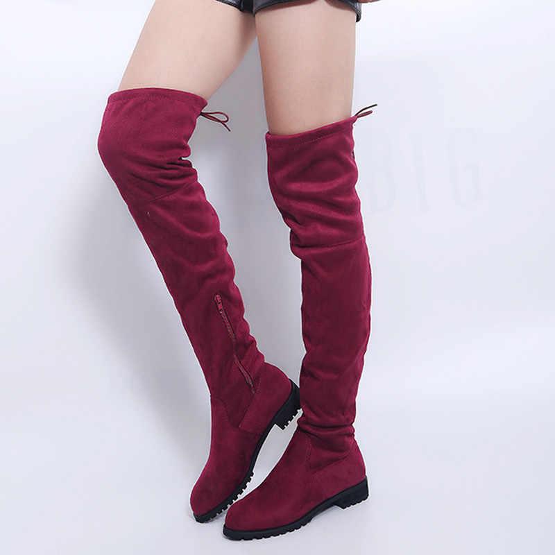 Gợi Cảm Over-The-Đầu Gối Giày Nữ Giày Nữ Mùa Đông Giày Nữ Da Lộn Bota Nữ Dài Giày Bốt Thời Trang Đùi giày Cao Cổ Plus Size 43