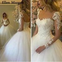 Long Sleeves Ball Gowns Wedding Dresses 2018 Vestido De Noiva for African Black Girls Skin Lace Floor Length Ivory Bridal Gowns
