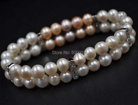 Natural color 2strands 6.5 7mm near round Multicolor freshwater pearl bracelet stretch