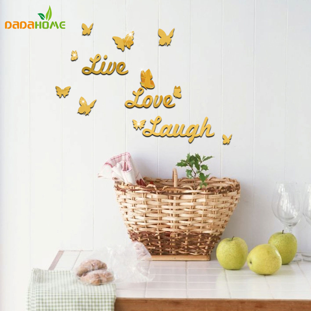 10 piece butterfly wall decor live love laugh mirror wall stickers 10 piece butterfly wall decor live love laugh mirror wall stickers creative english alphabet wall stickers home decor in wall stickers from home garden on amipublicfo Gallery