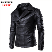 2018 Natual Leather Jackets Mens Bomber Bandage Winter Motorcycle Jacket Men Genuine Leather Windbreaker Motor Biker Hombre Coat