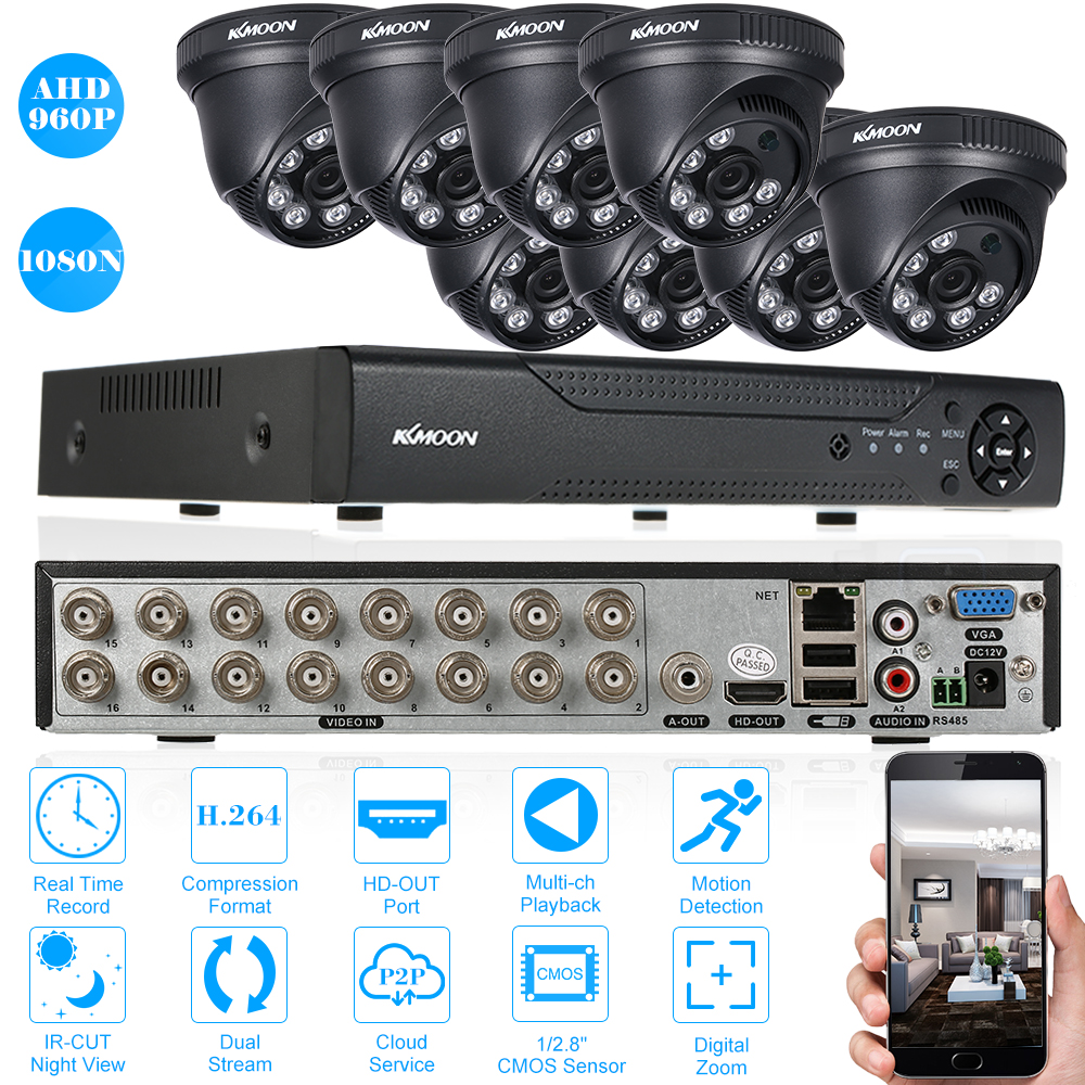 KKmoon 16CH CCTV System 16CH 1080N DVR 3.6mm 8PCS 960P Night Vision CCTV Camera Home Security System Surveillance Kits