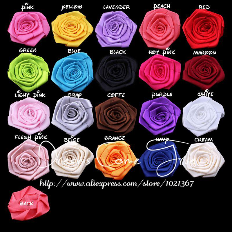 50pcs/lot 2.4 20Colors Newborn Lovely Mini Chic Satin Children Hair Accessories Artificial Fabric Flowers For Baby Girl Tiara
