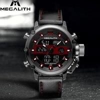 MEGALITH мужские спортивные водонепроницаемые хронограф кварцевые часы многофункциональные двойной дисплей дата светящаяся наручные часы дл