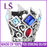 LS Royal Crown Bead S925 Sterling Silver Charm Beads With Cubic Zirconia Fit Brand Bracelet DIY
