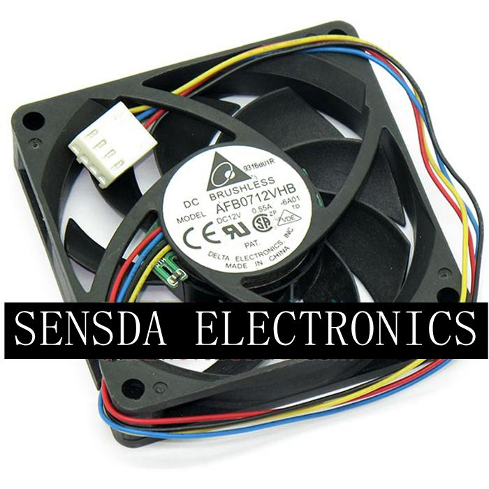 for delta AFB0712VHB 7015 <font><b>70mm</b></font> x <font><b>70mm</b></font> x 15mm DC Brushless <font><b>PWM</b></font> Cooler Cooling <font><b>Fan</b></font> 12V 0.55A 4Wire 4Pin Connector image