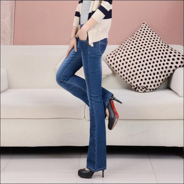 ФОТО SGOGOOG 2017 Spring and autumn female women girls elastic high waist plus size cotton micro flare pants jeans clothes