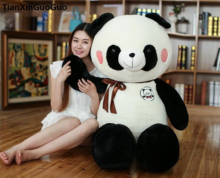 large 120cm lovely cartoon panda plush toy silk belt panda soft doll hugging pillow birthday gift b1254 lovely giant panda about 70cm plush toy t shirt dress panda doll soft throw pillow christmas birthday gift x023